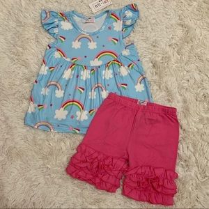 PETE & LUCY Rainbow Outfit Set 2T 3T 4T 5 6 10 12